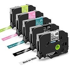 Nastri Oozmas Compatibile In sostituzione di Brother TZe Tape 12mm 0.47, Compatibile Brother P-touch H100R 1005 1010 1830VP H100LB, TZe-231 TZe-335 TZe-T535 TZe-MQP35 TZe-MQG35, confezione da 5