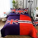 DOTBUY Bettbezug Set, 4 Teilig Bettwäsche 220 x 240cm Mode Gemütlich Printing Bettbezug-Set (Reisflagge 2)