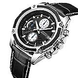 JEDIR Herren Chronograph Uhr Schwarz Zifferblatt Weiß arabische Ziffern Sport Stil weichen Lederarmband