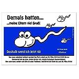 Moderne Einladungen zum Geburtstag 18 20 25 30 40 mit Spruch - cool lustig Wunschtext ändern, Comic Sperma, 40 Karten, Größe 17 x 12
