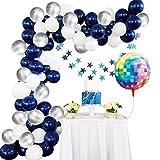 Amycute 64 pcs Globos de Azul Platas Blanco de Látex, Pentagrama Guirnalda Bandera Globos de Discoteca de Colores para Fiesta de Cumpleaños, Bodas, Decoración con Cadena de Globos
