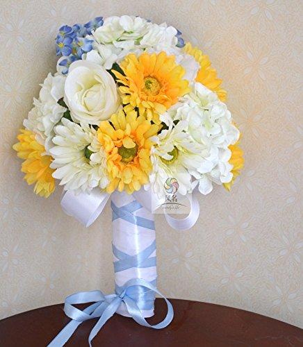 Yxhflo Emulation Blume Blumen Hochzeit Kunst Brautsträuße,__Lw_Nl__Gelb Blau Der Afrikanischen Ju Deadlock Graue Pappteller Und Servietten