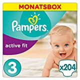 Pampers Active Fit Windeln Gr. 3 5-9 kg Monatsbox 204 St.