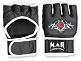 M.A.R International Ltd. echtes Leder Open Palm MMA ULTIMATE FIGHTING Handschuhe Muay Thai Power Data Grapple & Strike Handschuhe Gym Fitness Supplies Sparring Gear XL schwarz/weiß
