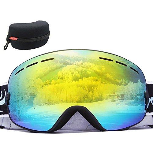 KOBWA Winter-Skibrille, Schneebrille, Schneemobil, Snowboard-Brille, 100% UV-Schutz, doppelschichtige kugelförmige Gläser, Helmkompatibel mit Schneebrille, Unisex, Black Frame - REVO Gold