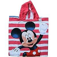 Mickey Mouse - Mickey Poncho-toalla infantil microfibra con capucha, 50x100 cm toalla, 50x50 cm poncho