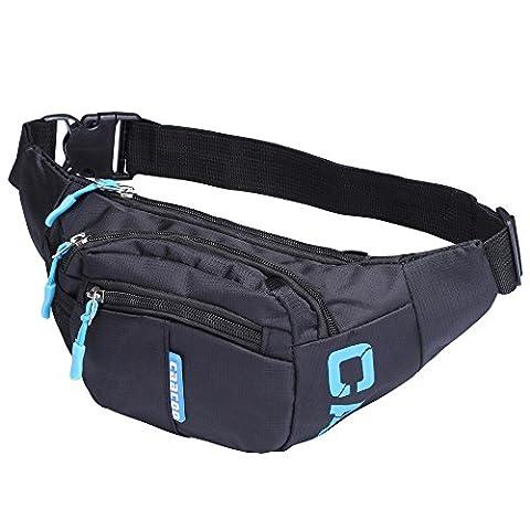 Sac CaaCoo Ceinture, Cool Sac Banane, les voyages, le vélo, le patinage, la randonnée, le chien marchant, 3 Zip poches (bleu)