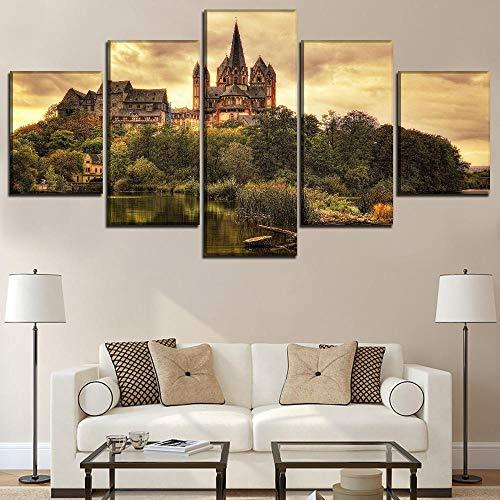 wangxiuliu 5 Panels Architektur Kirche Deutschland Limburg Kathedrale Modulare Bild Leinwanddruck Malerei Wandkunst Home Dekorative30x40cmx2 30x60cmx2 30x80cmx1 Frameless