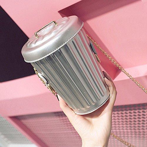 damenmode Zylindrische Cups kettenbeutel Schulter Skew spam taschen Silber