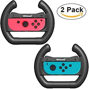 Whiteoak Joy-Con Rad [Upgrade-Version] Zubehörsatz Anhänge Lenkrad for Nintendo Switch Controller(2er-Set, Schwarz)