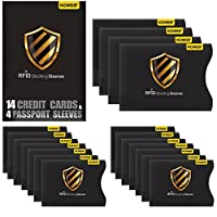 RFID Blocking Sleeves, Kollea 18 Pack Secure Sleeves Credit Card Protector Top Identity Theft Protection Travel Case Set 14 Credit Card & 4 Passport Protectors Fits in Wallet Pocket or Bag