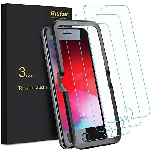 Blukar Panzerglas für iPhone 8/iPhone 7 Schutzfolie, [3 Stück] Panzerglasfolie Mit Positionierhilfe, 9H-Härte, Anti-Bläschen, Anti-Kratzen für iPhone 8/7/6/6s -