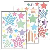 Wandsticker 'Sterne 4' - 69 Aufkleber auf 3 Bögen DIN A4 - Wandtattoo Deko / Wandkleber / Aufkleber für Kinderzimmer / Wohnzimmer / Schlafzimmer / Baybzimmer / Badezimmer oder als Geschenk