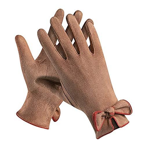 HLHD-wool gloves Gemütliche Frauen-Touchscreen Handschuhe Verzierte Handschellen Bow Elegante warme Handschuhe Kaltbeweis (Color : Brown, Size : One Size)