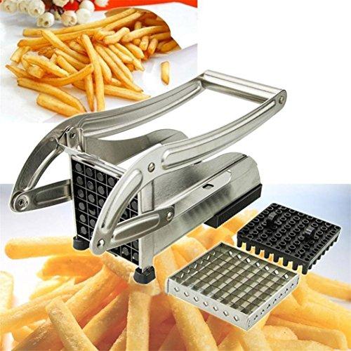 Vovotrade® Slicer Dicer Acier Inoxydable Fry Cutter Pomme de Terre Légumes Trancheuse Découpeur Dicer 2 Lames Coupe-légumes BONUS (Argent)