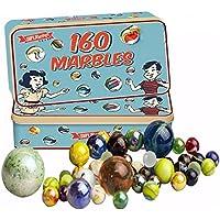 160 Tradicional Surtido Colorido Clásico Retro Canicas De Vidrio en lata Juego De Niños
