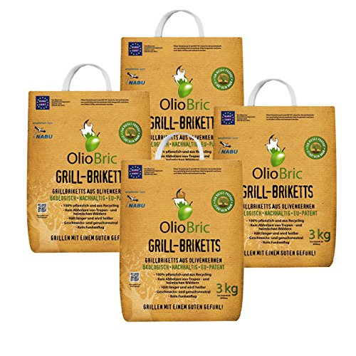 Olio Bric Olive Cores 12kg & # X2713���Smoke & # X2713, not Wood Briquettes & # X2713�No Sparks & # X2713�Burn Time 100% Recycled Charcoal Briquettes for Everyone Who Loves | Eco-Friendly & Smokeless Charcoal BBQ Barbecue