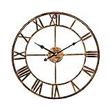 Babimax Eisen 3D Wanduhr Handgemachte Vintage Wanduhr 47CM Ø - kein nerviges Ticken Dekoration für Wohnzimmer Esszimmer Küche Halle Gold
