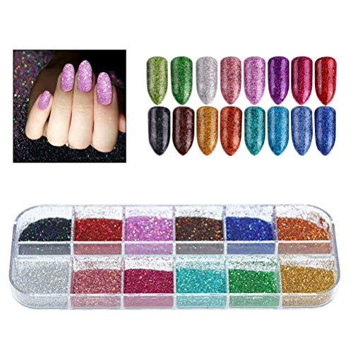 Comtervi Glitter Nagellack Pulver, Nagelpulver Glitter-Effekt-Chromspiegel-Schimmer-Glitter-Pigment für Nagel-Dekoration -