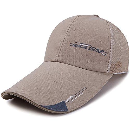 (HSRG Hats Sommer-Baseballmütze-Sport-Maschen-Hut Für Golf-Laufende Fischen-Justierbare Maschen-Kappe Im Freien Für Männer,Darkbeige)