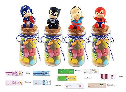 12 provette porta confetti bt37x50 + 12 baby super eroi mj16141 + filo + bigl