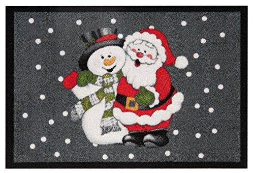 Teppich Santa (Hanse Home Design Fussmatte Schmutzfangmatte Santa and Snowman Weihnachtsmann Schneemann, Polyamid, Grau Rot, 40 x 60 x 0.7 cm)