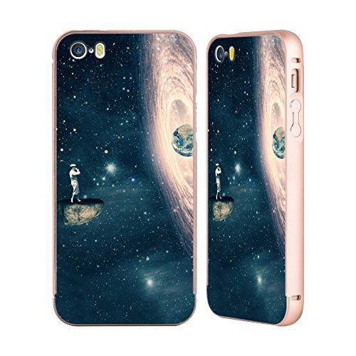 Ufficiale Paula Belle Flores La Mia Casa Da Sogno Spazio Surreale Oro Cover Contorno con Bumper in Alluminio per Apple iPhone 5 / 5s / SE Solo Un Gioco