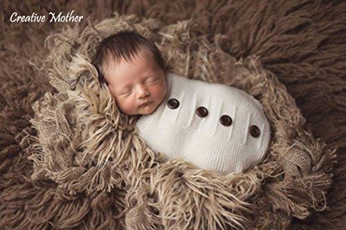 Creative Mutter Weihnachten Cocoon Schlafsack für Neugeborene Jungen Mädchen Baumwolle Strick Crochet Fotografie Prop (Button White)