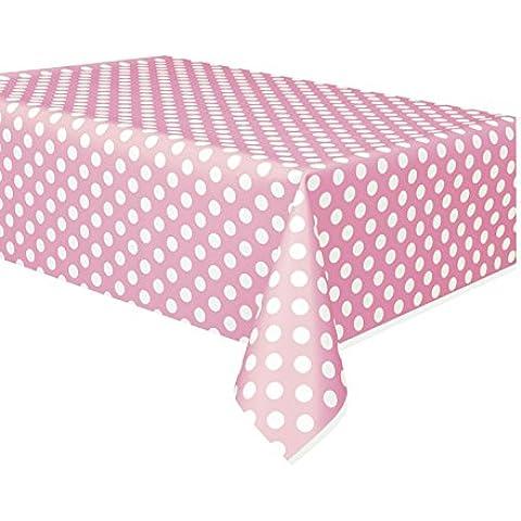 Unique Party Mantel de plástico rosa con puntos blancos, 2,7 x 1,4 m