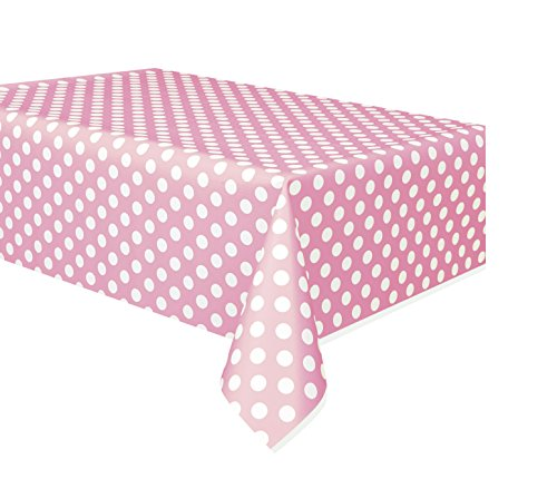 Unique Party 50259 - Nappe en Plastique à Pois Rose Pastel, 2,74 m x 1,37 m