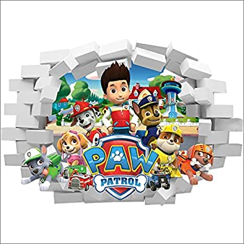 paw patrol cartoon dog smash nursery boys girls room wall decal 3d