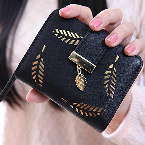 Hrph Neue Art und Weise weibliche Portemonnaie kurzer Punkt Hohle Goldblatt Kleine Geldbeutel Große Kapazität Wallets