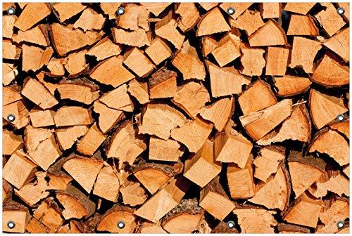 Wallario Garten-Poster Outdoor-Poster, Holzstapel gehackt - Holzscheite für den Kamin in Premiumqualität, für den Außeneinsatz geeignet - Den Für Kamin Holzscheite