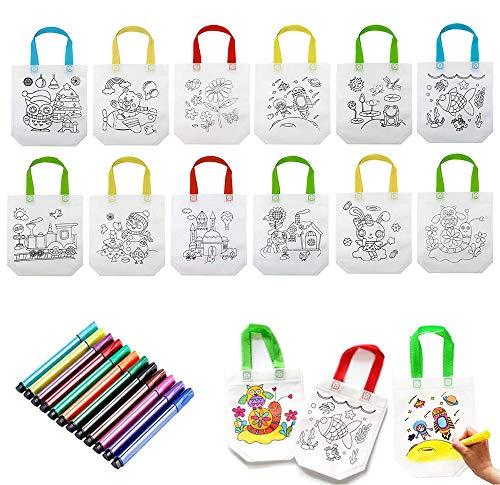 ReNice 24 Stück DIY Graffiti Taschen, Kinder Stoffbeutel Set mit Buntstifte für Gastgeschenke Mitgebsel Kindergarten Geschenk