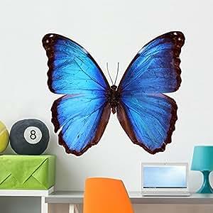 Wallmonkeys Blue Morpho Butterfly Morpho Godarti Peel and Stick Wall Decals WM268068 (36 in W x 26 in H)