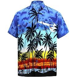 LA LEELA | Funky Camisa Hawaiana | Señores | XS-7XL | Manga Corta | Bolsillo Delantero | impresión De Hawaii | Playa Playa Fiestas, Verano y Vacaciones Azul_W140 XL