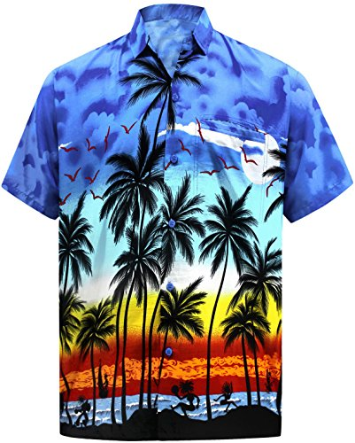 LA LEELA männer Hawaiihemd Kurzarm Button Down Kragen Fronttasche Beach Strand Hemd Urlaub Casual Herren 7XL-Brustumfang (in cms):178-183 Blau_W140 - Mantel 5x Winter Herren
