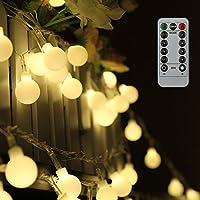 Guirlande lumineuse 10M 80 ampoules, Tomshine 8 Modes avec télécommande,étanche IP44, 0.6W LED à Piles Petites Boules, Alimenté par batterie(Blanc Chaud) [Classe énergétique A+]