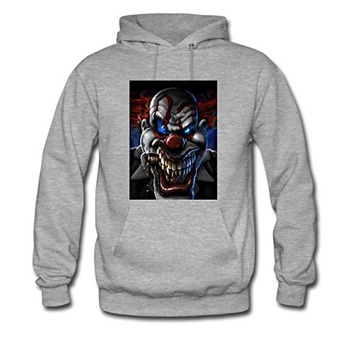 HGLee Printed Personalized Custom Clown Classic Women Hoodie Hooded Sweatshirt Gray--1