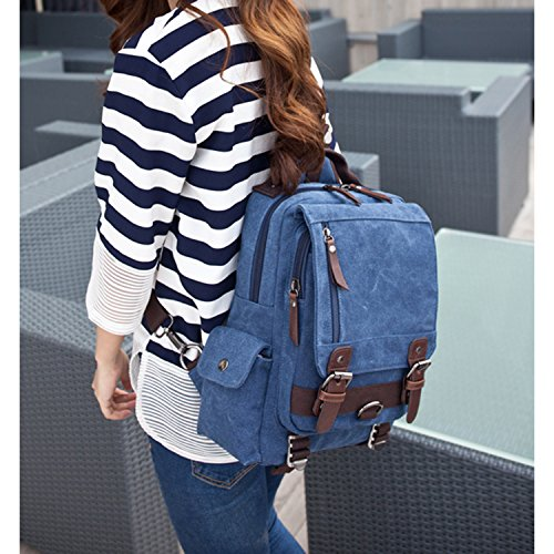 Outreo Borsa Tracolla Borse Petto Sacchetto Spalla Tela Zaino Vintage Messenger Bag per Laptop Scuola Borsello Uomo Borsetta Donna Sport Tasca Blu