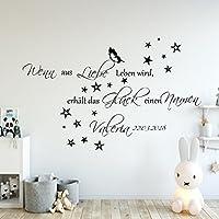 Wandschnörkel® Aufkleber HM~AA136 Wenn aus Liebe Leben wird...Wand Spruch Namen Wandtattoo Kinderzimmer Baby Mädchen Jungen Namen Türaufkleber, personalisiert (jetzt auch in zarten Pastellfarben)