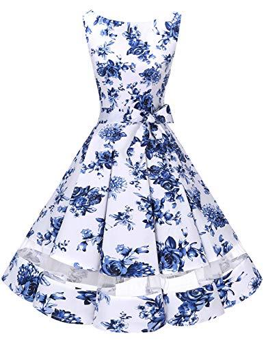 bridesmay 50s Retro Vintage Rockabilly Kleid Knielang Partykleider Cocktailkleid Abendkleider White Blue Flower M