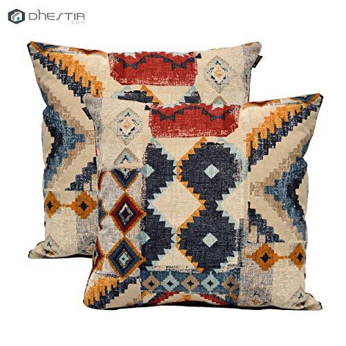 Dhestia Pack X 2 Fundas Cojines Decoración Sofá Y Cama 45X45 Cm Diseño (Etnic 124), Multicolor, 45 X 45 Cm