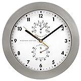 Hama PG-300 PG-300-Reloj de Pared (AA, Vidrio), Pl&ampaacutestico, Plata, Color Blanco, 34,80 x 31,10 x 5,50