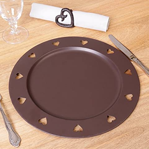 SET OF 6 Beautiful Festive Country Style Antique Brown Cutout Charger Plate, Perfect for Christmas