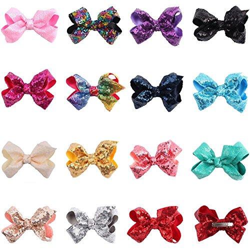 ädchen Haarspangen, Party Hair Bows Clips für Mädchen Bling Sparkly Glitter Pailletten Große 4