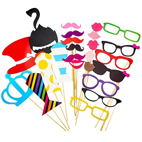 Photo Booth Props, Pupow 60PCS colorato fai da te Kit Foto Props su bastoni per la festa nuziale Riunioni Compleanni Dress-up di Natale Accessori & favori di partito, cappelli, occhiali, Bocca, Bowler, papillon.