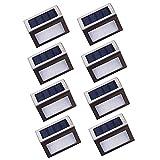Nateer Led Solarleuchte, 3 LED Solar Wandleuchten Garten mit Lichtsensor, Wasserdichte Kabellose Sicherheitslicht Solarlampe für Aussen, Treppe, Zaun, Dachrinnen, Balkon, Terrasse (8 Stück)