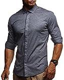 LEIF NELSON Herren Kurzarm Hemd Slim Fit Langarm Kurzarmhemd Freizeithemd Freizeit Party T-Shirt LN3455; XL, Anthrazit