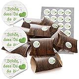 48 kleine Geschenkboxen Holz Optik braun (14,5 x 10,5 cm ca. 3 cm) und 48 runde Aufkleber (13467) 4 cm in grün weiß mit Herz auf Holz SCHÖN, DASS DU DA BIST als Mitgebsel Verpackung für Feste